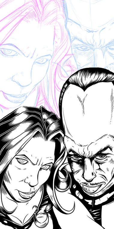 Red She-Hulk & the Leader - Sketch and digital inking