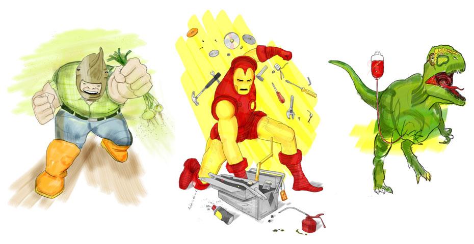 Rhino, Iron Man & T-Rex